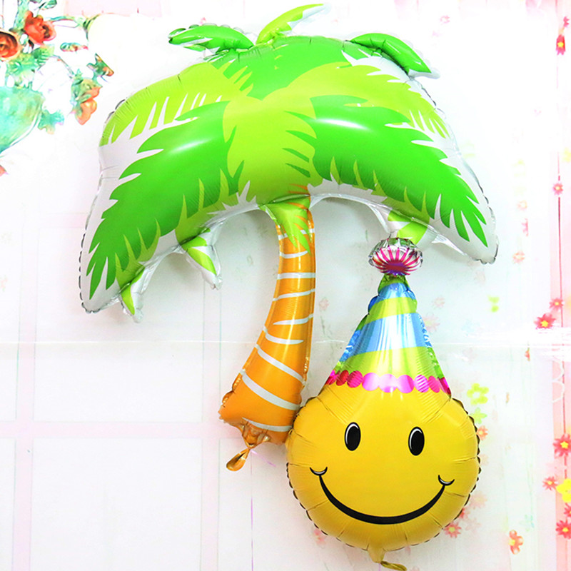 Coconut tree Foil Balloons smile helium balloon Wedding Decoration air balloon i