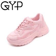 GYP/Женская удобная обувь; розовые массивные кроссовки на платформе; LL-35 на танкетке