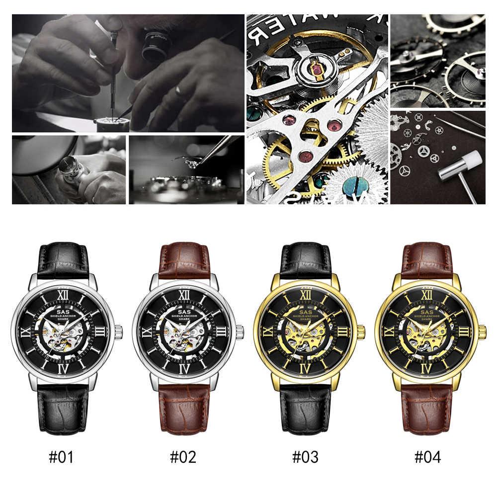 2020 יוקרה עסקים מכאני שעון גברים אופנה שלד שעון עור עמיד למים שעונים זוהר שעון Relogio Masculino