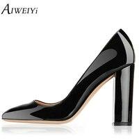 AIWEIYi Femmes de Talons hauts En Cuir Verni Style Glissent Sur Les Pompes Chaussures D'été Chaussures Femme Pompes Noir Dames De Noce chaussures