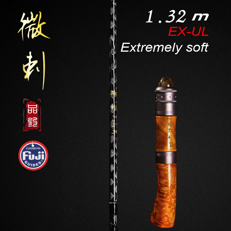 Ultralight Extremely soft fast lure rod EX-UL 1.35M slightly grip spinning and casting handle with fuji ring Solid wood handle