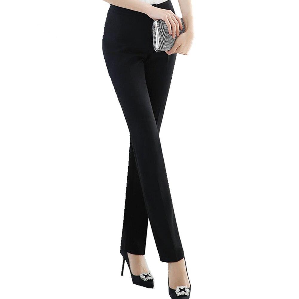 US $22.3 |Fmasuth czarne formalne spodnie damskie wiosenne ubrania do pracy damskie biurowe proste spodnie pełnej długości spodnie WP0015 w Spodnie i