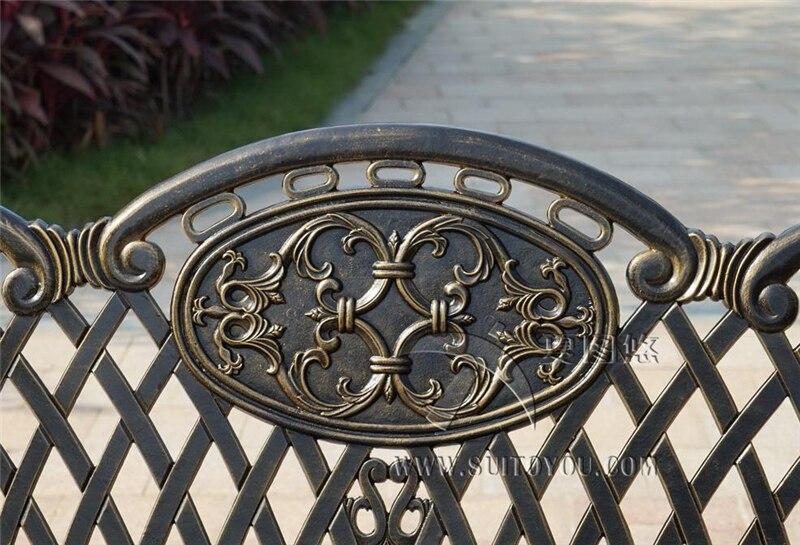 Купить с кэшбэком 59 inch backrest cast aluminum leisure rust proof park bench garden chair for backyard