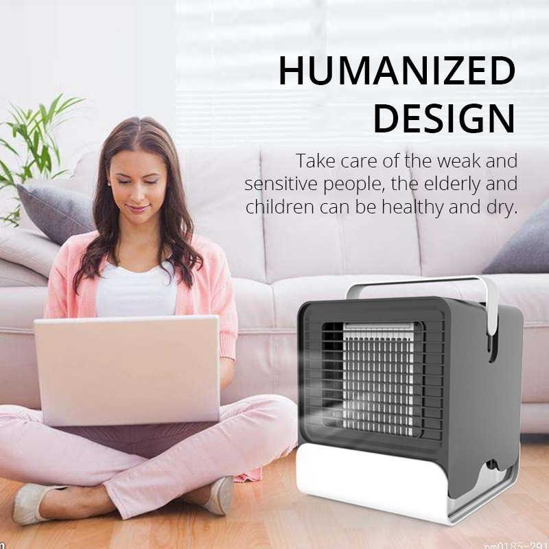 USB Mini Taşınabilir Klima Nemlendirici Arıtma 7 Renk Işık Masaüstü Hava Soğutma Fan hava soğutucu Fan Ofis Ev için