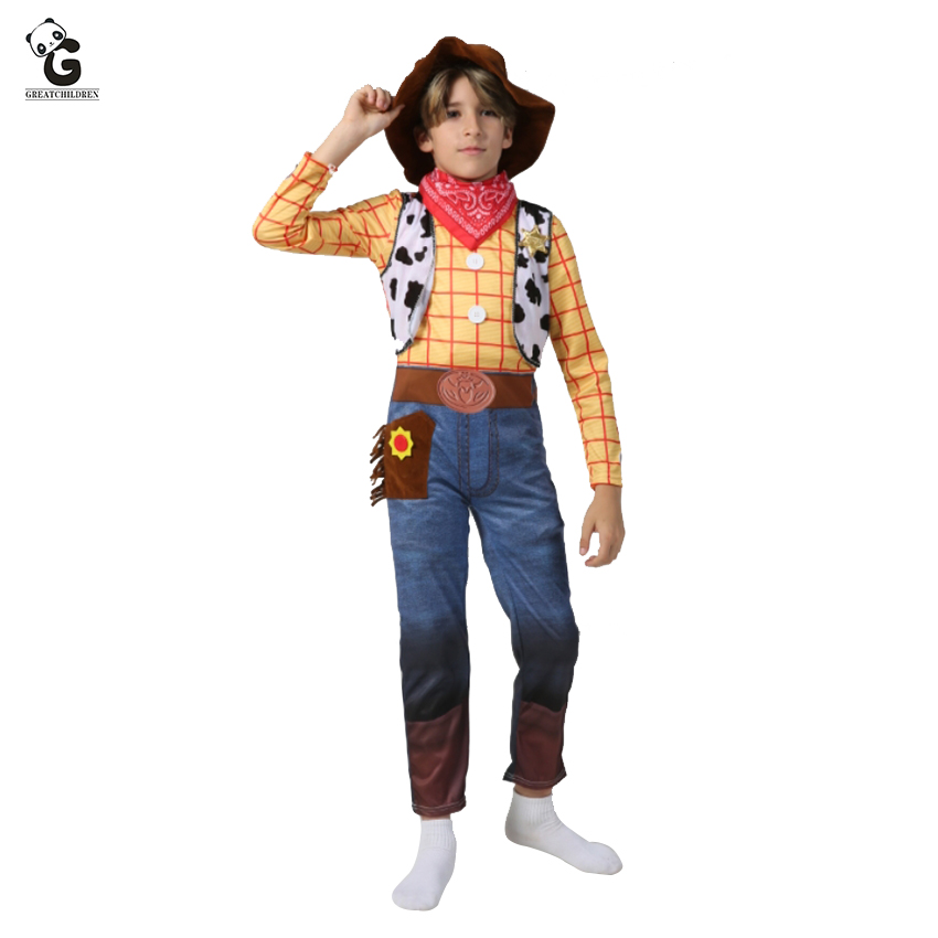 Halloween Costumes For Kidsboys.New Arrival Boys Woody Costumes Kids Deluxe Children Fancy Dress Halloween Costume For Kids Woody Role Play Cowboy Costume Suit