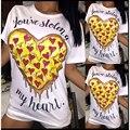 2017 Mulheres Novo Estilo de Moda T-shirt da Cópia do Coração Graphic Tees sexy top preto branco