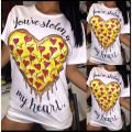 2017 New Style Women Fashion  Print T-shirt Heart Graphic Tees sexy white black top