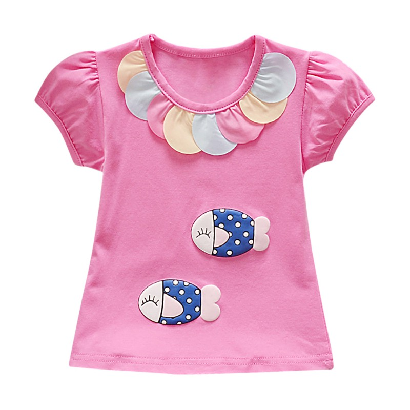 Outfits T-Shirt-Tops Short-Sleeve Toddler Girl Cartoon Summer Cotton New Print Casual