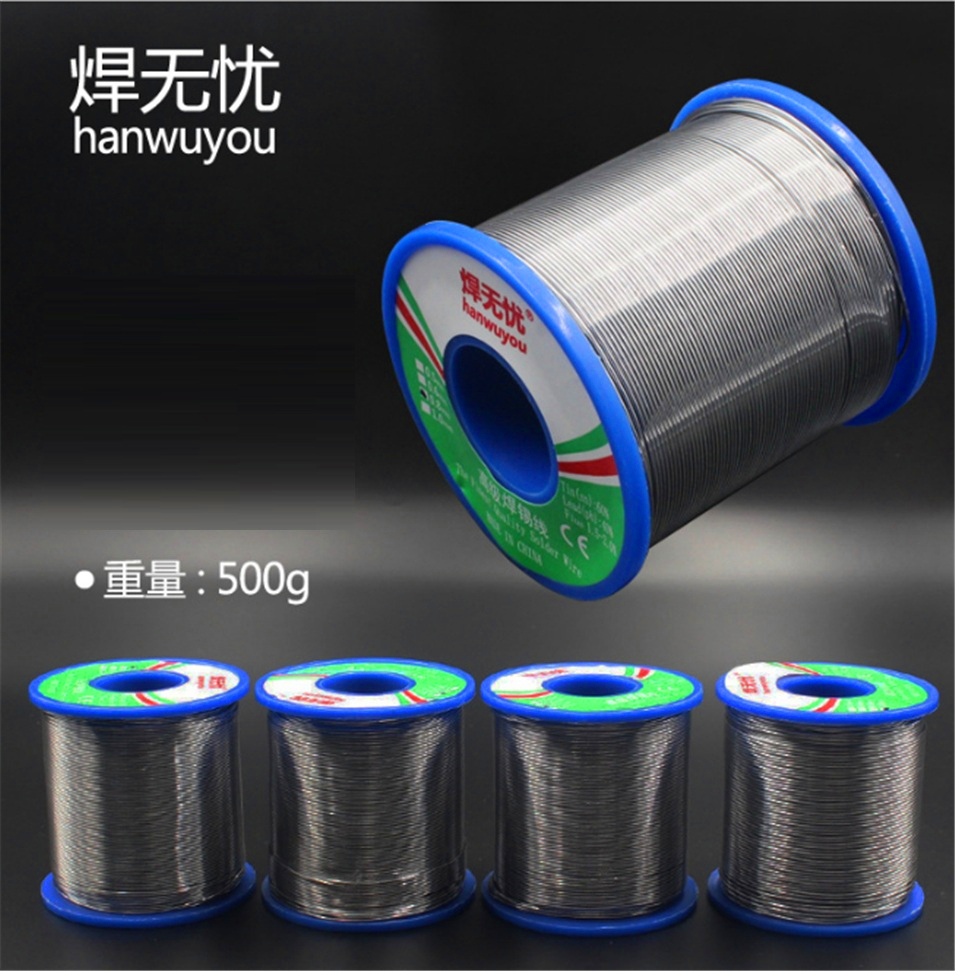 0.5/0.6/0.8/1mm 500g 60/40 FLUX 2.0% 40FT Tin Lead Tin Wire Melt Rosin Core Solder Soldering Wire Roll Tin content 40% qitian b5510200g lead tin soldering wire wick roll silver