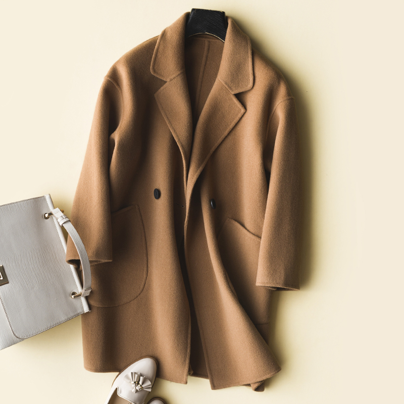 Outwear Manteaux Vestes Naturel camel Laine De Manteau Boutonnage 2019 Black Printemps Lwl1409 Vêtements Tcyeek caramel Et Femmes 100 Automne Pardessus Double qwaR4t5