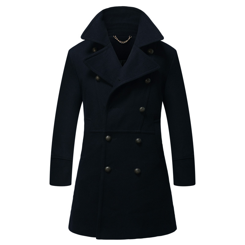 New Mens Stand Collar Wool Winter Coat Fashion Male Long Trench Coat Double Breasted Man Wool Peacoat Men's Woolen Long Overcoat