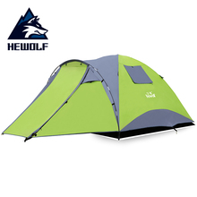 Hewolf Camping Tent Waterproof 3 ~ 4 Person Double-Layer Aluminum Rod 3 Season Family Camping Travel Outdoor Tents For Fishing 2017 new 3 person 2 layer aluminum pole hiking travelling party family cycling fishing beach anti rain outdoor camping tent