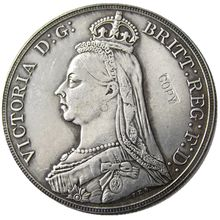 England UK A Set Of (1887-1892) 6pcs silver One Crown Queen Victoria Silver Plated Copy Coin(China)