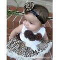 Детские 2 Шт. Девушки Дети Туту Платье Цветы Топ + Юбка Leopard Костюмы Одежда 1-4Y Горячий Продавать
