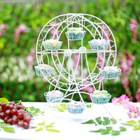 White Metal Ferris Wheel Cupcake Rack Holder Sky Wheel Design Food Dessert Serving Catering Stand Wedding
