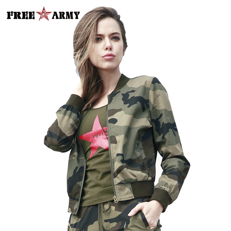 New Military Fashion Bomber Jacket Women Spring Casual Coats V Neck Collar Jackets Slim Zipper Outerwear