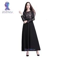 New Elegant Lace Solid Muslim Abaya Dress Islamic Clothing For Women Fashion Abaya Dress Muslim Abaya