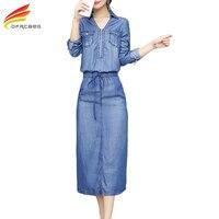New 2018 Spring Jeans Dresses Long Sleeve V Neck Collar Elastic Waist Slim Bottom Split Casual