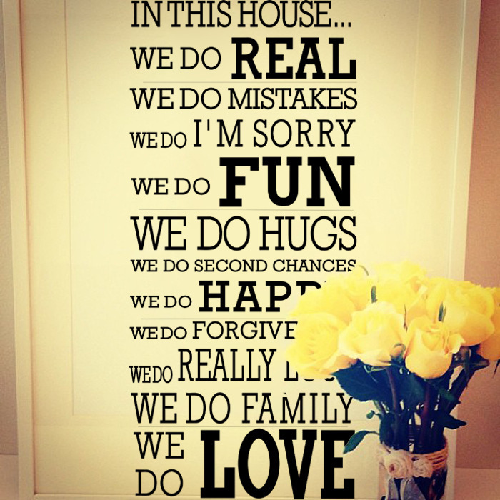 English Quotes Happy Family In This House Rules Vinyl Wall Decals