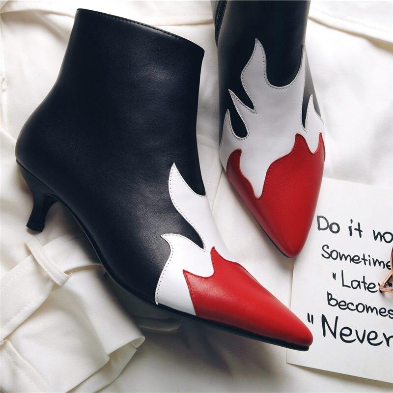 NAYIDUYUN Для женщин из натуральной кожи Острый носок котенок ботильоны на каблуках Челси в готическом стиле и стиле панк вечерние туфли-лодочк...