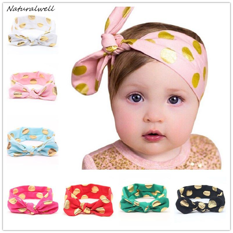 Naturalwell Gold Polka Dots Baby Headband Girls Top Knotted Hair Bows Rabbit Ear Turban Head Wraps Hair Band Accessories HB059 13 colors lovely girls print floral rabbit ears hairband turban knot headband hair band accessories