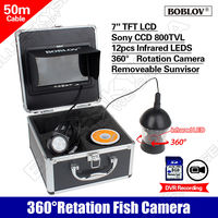Free Shipping BOBLOV 50M 164ft CCD 7 LCD IR 360 Degree Rotation Fish Finder Underwater DVR