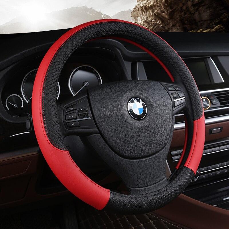 PU de cuero Universal coche volante cubierta 38 cm Car-styling Sport volante Auto cubre Anti- deslizamiento accesorios Automotrices