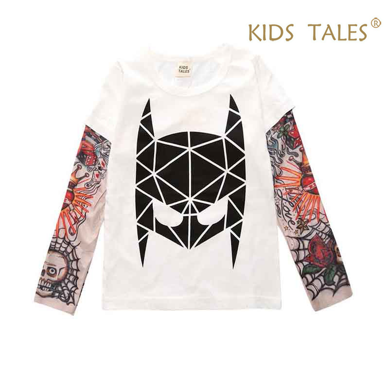 Summer T-shirt Cotton Boys Clothes Casual Baby Children Clothing Tattoo Print Long Sleeve T Shirts Toddler Kids Top Tees 1-9 Y цена