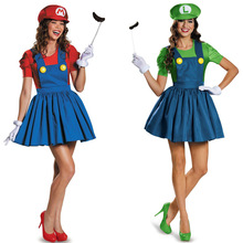 New Halloween Adult Womens Cosplay Costumes Super Mario Luigi Brothers Plumber Women Party Costume Clothes