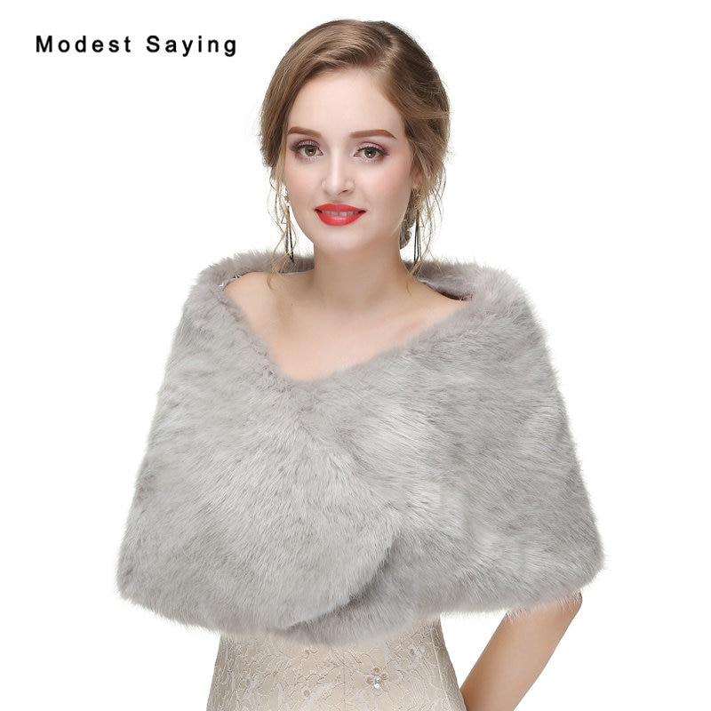 New 2017 Silver Faux Fur Wedding Boleros Shrugs Bridal Shawls Fur Stoles Warm Bridesmaid Wraps Outerwear Wedding Accessories