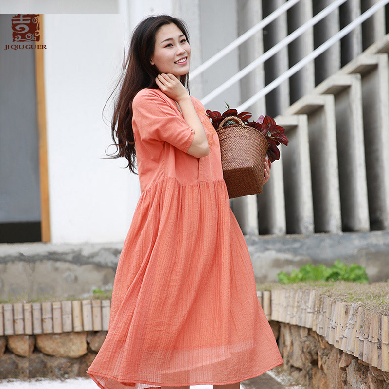 Jiqiuguer Women Summer Orange Casual Dresses Embroidery Pockets Buttons Patchwork Three Quarter Solid Loose Vestidos G182Y087
