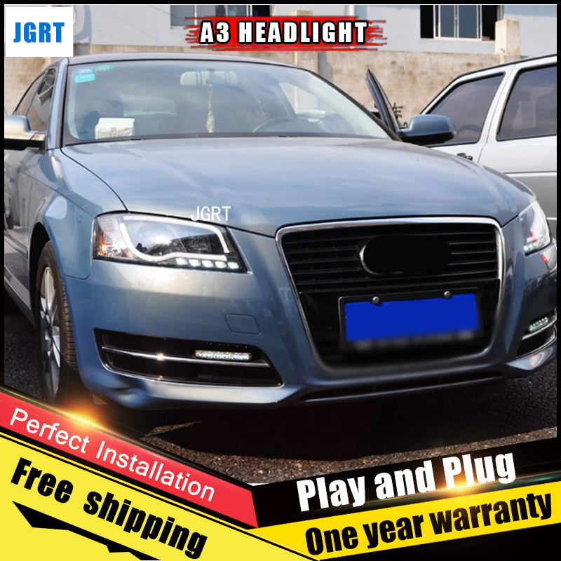 2PCS Car Style LED headlights fo Audi A3 2008-2012 for A3 head lamp LED DRL Lens Double Beam H7 HID Xenon bi xenon lens auto lighting style led head lamp for mazda 3 axe headlights for axela led angle eyes drl h7 hid bi xenon lens low beam