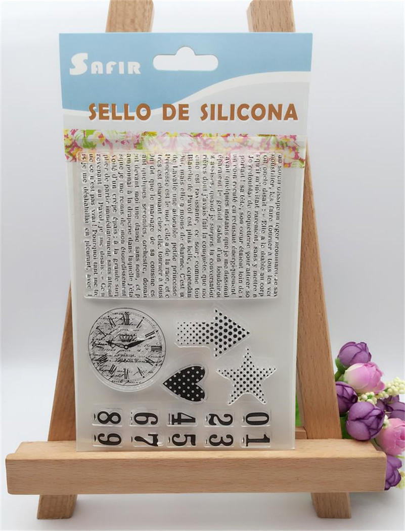 clock and letter number Scrapbook DIY photo Album paper craft clear stamp transparent for christmas gift CL-041