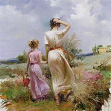 Фотография Canvas wall pictures pop art Tuscan Stroll women oil painting Pino Daeni modern home decor