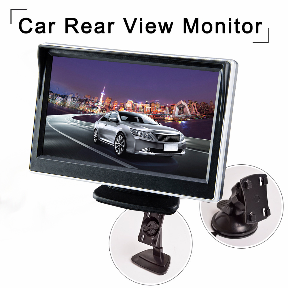 Viecar 5Car Monitor TFT LCD 5.0Inch800*480 16:9Screen 2Way Video Input HD Digital Colorful For Rear View Reverse Camera VCD DVD