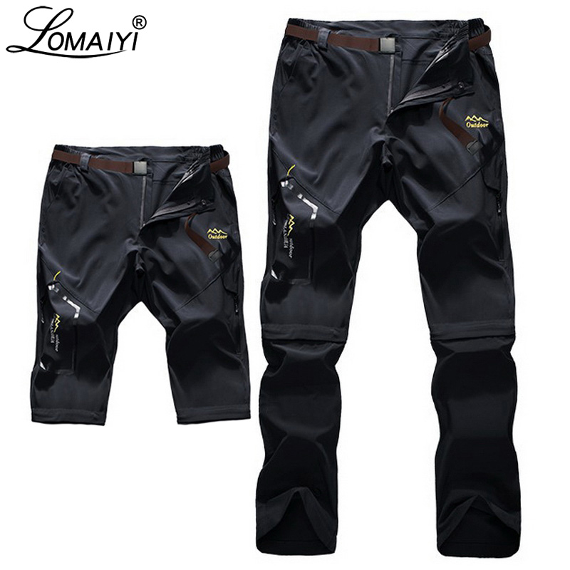LOMAIYI S-6XL Stretch Men's Summer Pants Men Ultra Thin Removable Pants Mens Cargo Trousers Male Khaki/Gray/Black Pants AM051