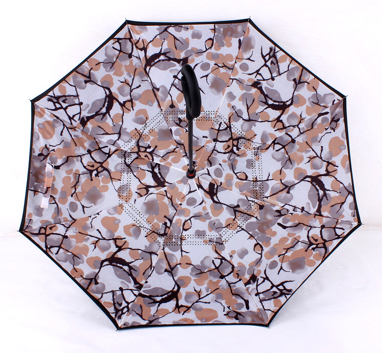 Windproof Reverse Folding Double Layer Inverted Umbrella Self Stand Inside  Out Rain Protection C-Hook Hands for Women Children - us338 516b32924ef03