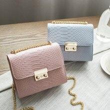 Simple Alligator Crocodile Leather Mini Small Women Crossbody Bag Chain Messenger Shoulder Bag Purse Handbags Bolsas