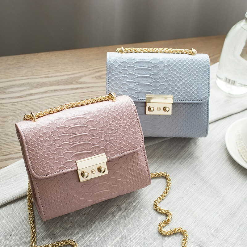 Simple Alligator Crocodile Leather Mini Small Women Crossbody Bag Chain Messenger Shoulder Bag Purse Handbags Bolsas Feminina
