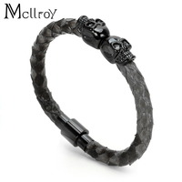 Mcllroy2017 New High Quality 6mm Real Snake Skin Man Bracelet Titanium Steel Bangle Leather Black Skull