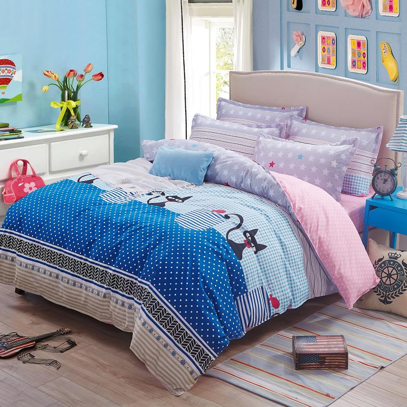 new arrival black cat bedding set star printed pink bed sheet plaid full twin duvet cover