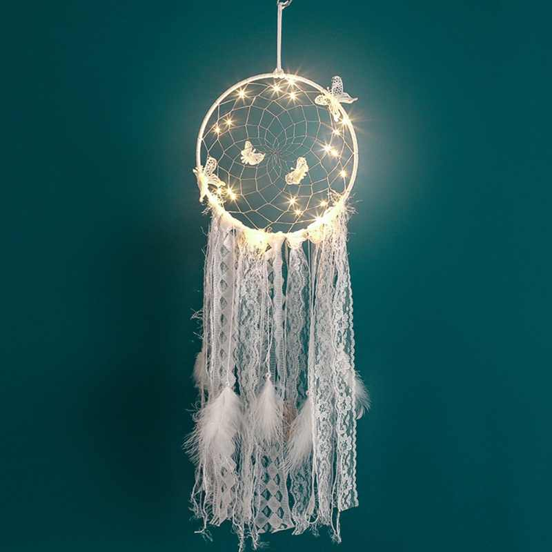 Dream Catcher Feather Girl Style Handmade Dreamcatcher With String Light Innovative Home Bedside Wall Hanging Decoration 1Pcs