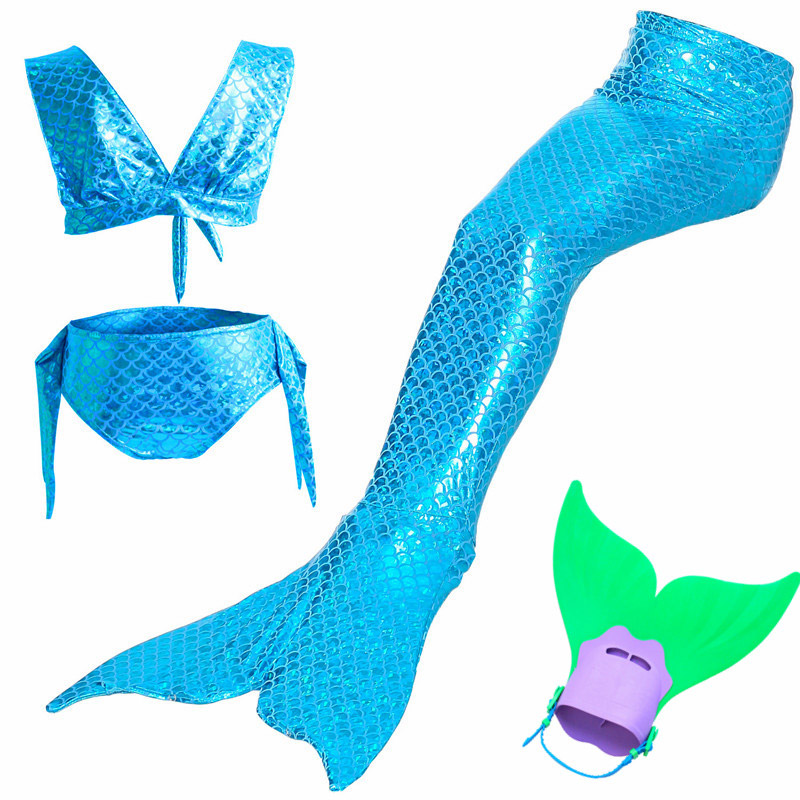 4Pcs/24 Color Little Mermaid Tails Girls Cosplay Costume for Swimming with Fin cos ariel Mermaid Girls Bathing Swimwear suit