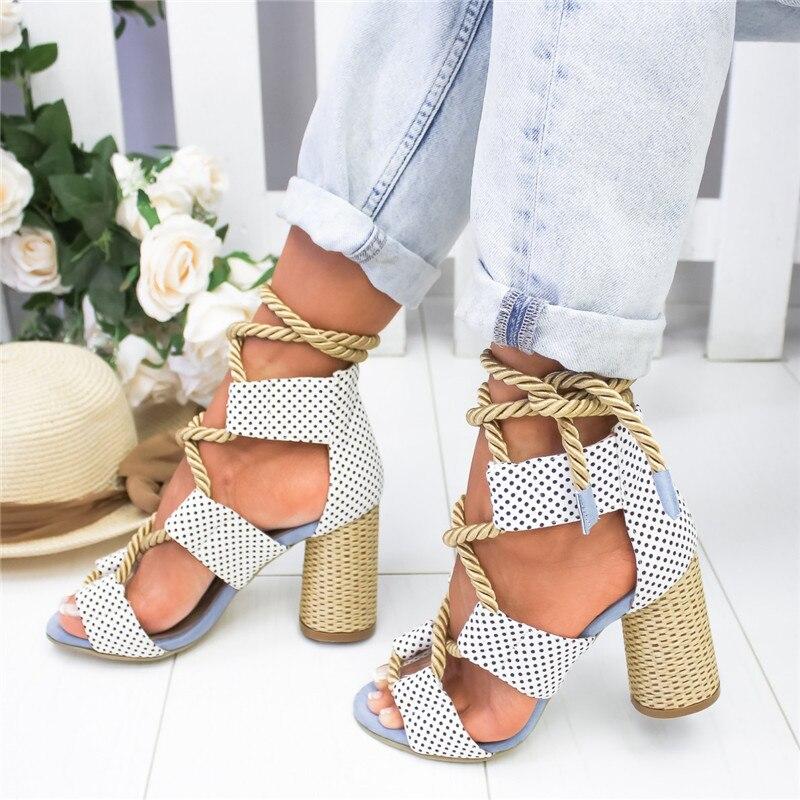 2019 Espadrilles d'été femmes sandales à talons hauts bouche pointue sandales chanvre sandale talons hauts chaussures à bout ouvert femme 14