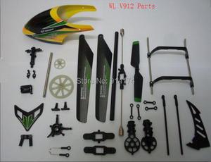 Image 1 - Wl toys piezas de repuesto de helicóptero por control remoto v912, 2,4g, juego de hoja principal, dosel, equipo de aterrizaje, flybar, rotor trasero