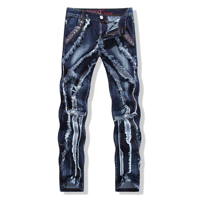 914d4cb438c 2018 new ripped jeans and repaired jeans Streat Wear Heavy Distressed and  Whiskering Light Blue Slim Fit Cotton Denim Mens
