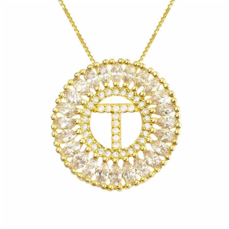 Fashion Women Necklace All Alphabet Letter A-Z A B C D E F G H I J K L M N O P Q R S T U V W X Y Z Pendants Necklaces CZ Jewelry