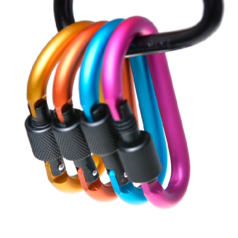 Carabine Outdoor Kit 6 pcs Camping Equipment Alloy Aluminum Survival Gear Camp Mountaineering Hook EDC Mosqueton Carabiner