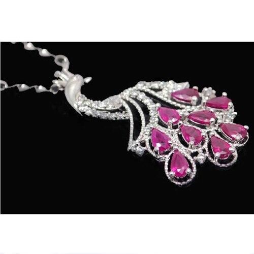 Collares Collier Qi Xuan_Red Stone Peacocks Подвеска Ожерелье_ настоящий шейный платок_ качество Directly ed_производитель напрямую