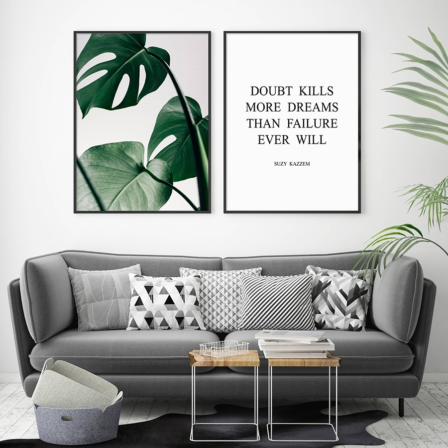 Green monstera print tropical leaf poster wall art decor believe dreams inspirational quote - Poster wohnzimmer ...